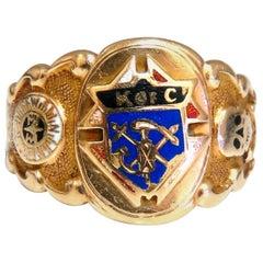 Knights of Columbus Statement Signet Ring 14 Karat Bone, Crest Medallion