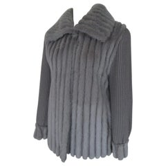 Knitted Grey Blue Mink Fur coat
