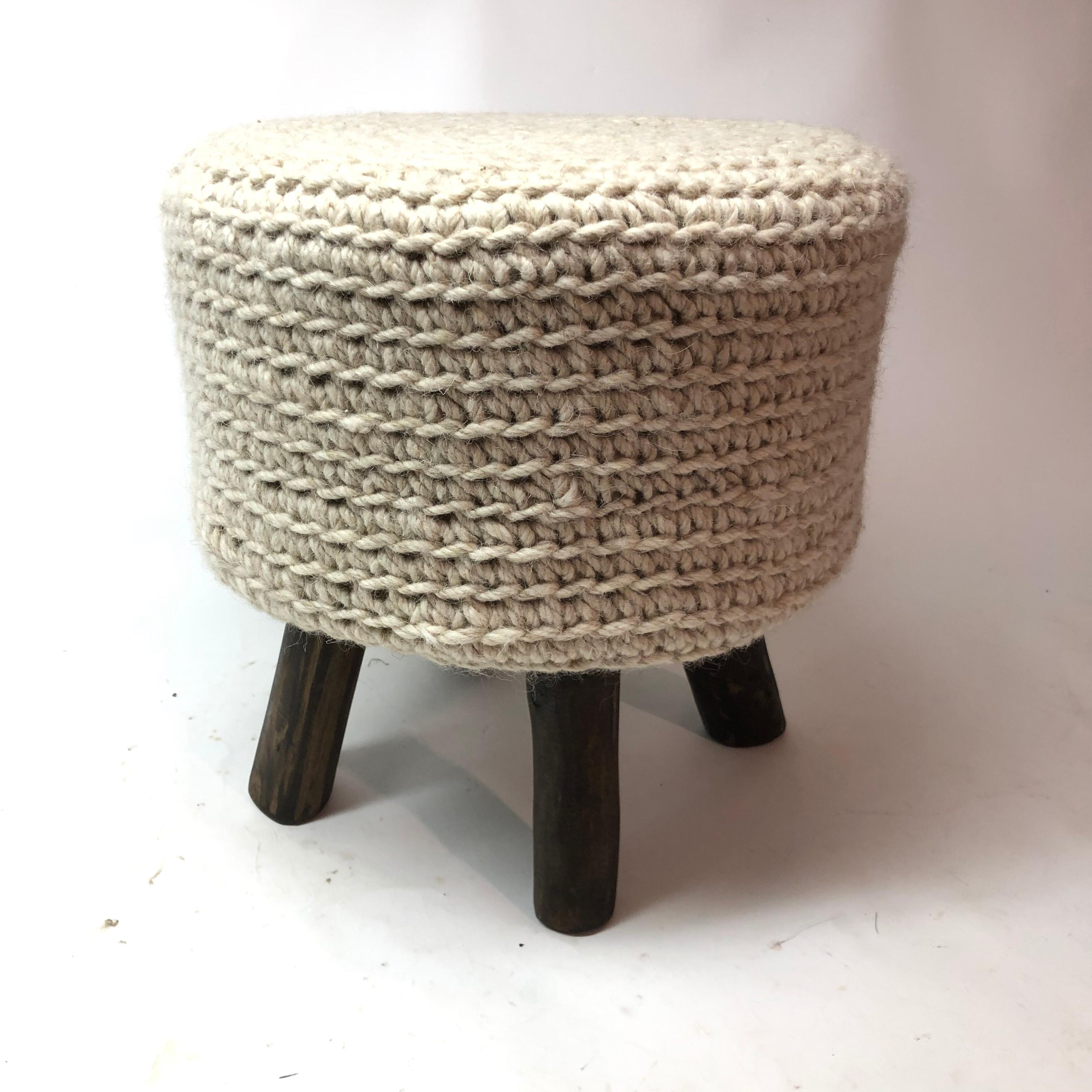 Fine Knitted Stool With Wood Legs Cjindustries Chair Design For Home Cjindustriesco