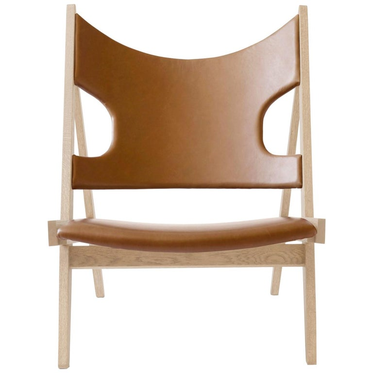 Knitting Lounge Chair, Natural Oak, and Dakar 0250 'Cognac' For Sale