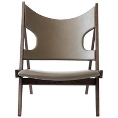 Knitting Lounge Chair, Natural Oak, Dakar 0250 'Grey Aniline Leather'