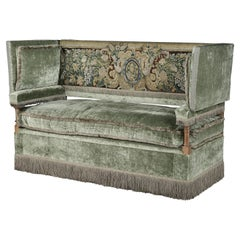 Knole Settee, Cowdray Park, English, Lengyon & Co, olive velvet, tapestry