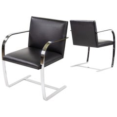 Knoll 255-304 Stainless Brno Chair, Flat Bar, Mies van der Rohe, Black leather
