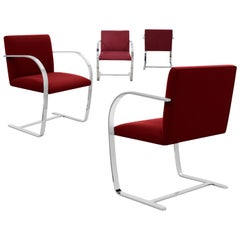Knoll 255 Brno Chair, Flat Bar, by Mies van der Rohe 1930, Burgundy, Signed