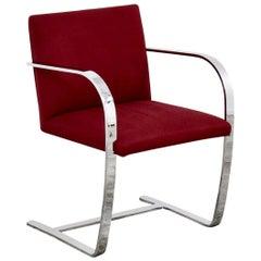Knoll 255 Brno Chair, Flat Bar, by Mies van der Rohe 1930, Burgundy, Signed