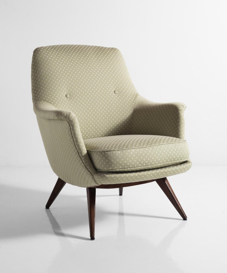 Knoll armchair by K. Antimott, Germany, circa 1950  Designed by Walter Knoll, and newly reupholstered in green cotton fabric by Titley & Marr.