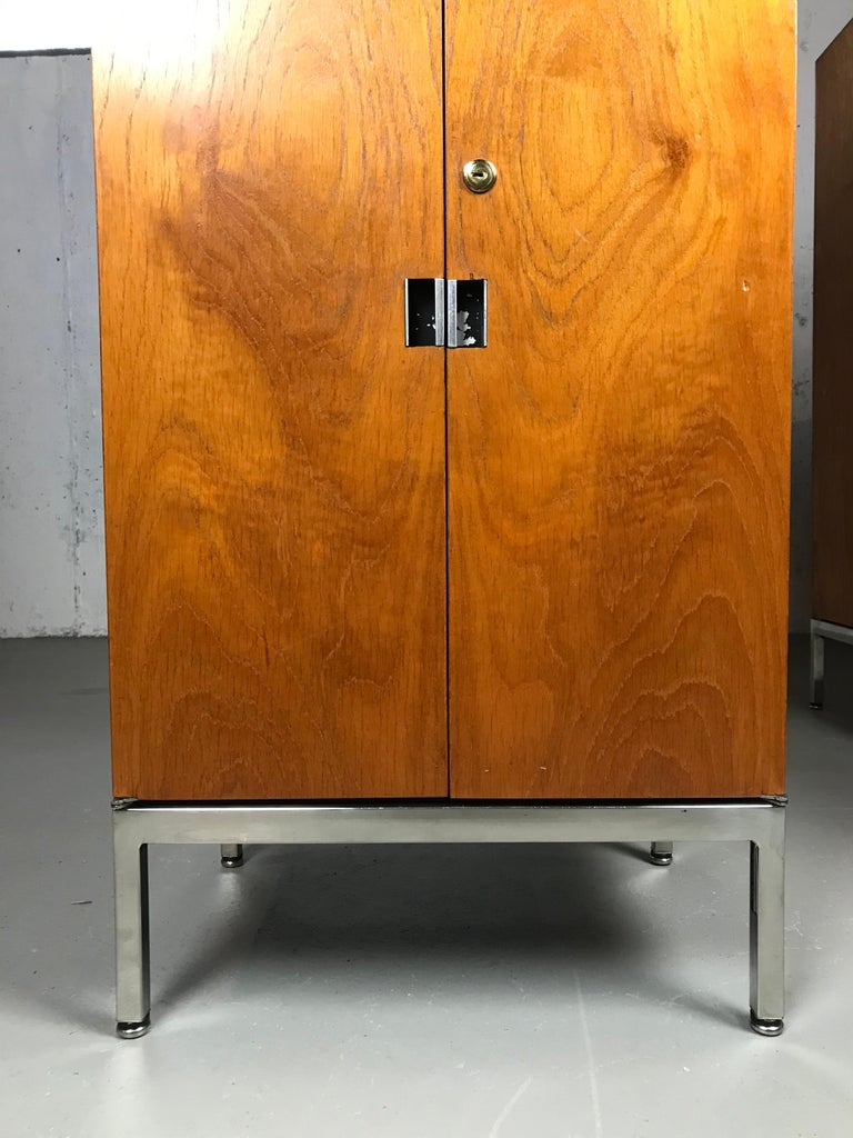 Knoll Armoire Cabinet In Teak And Chrome Custom Order