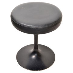 Knoll Associates Tulip Saarinen Stool Original Black Leather Upholstery, 1950