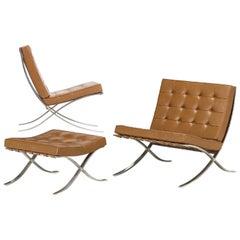 Knoll Barcelona Chestnut Lounge Chair & Ottoman Set of 3 Mies van der Rohe 1960s