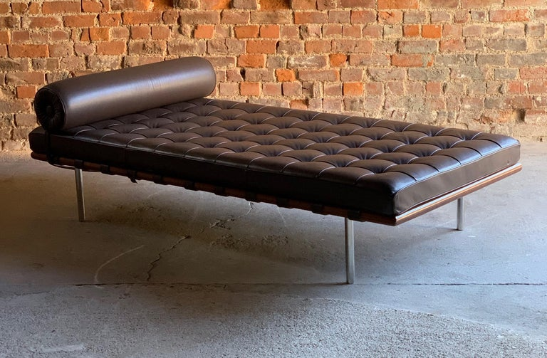 Mies Van Der Rohe Barcelona ouch daybed leather by Knoll Studio Signed Circa 1996  Knoll Studio signed Ludwig Mies van der Rohe 'Barcelona' Couch daybed upholstered in Brown (Toast) Volo leather circa 1996, on polished stainless steel circular