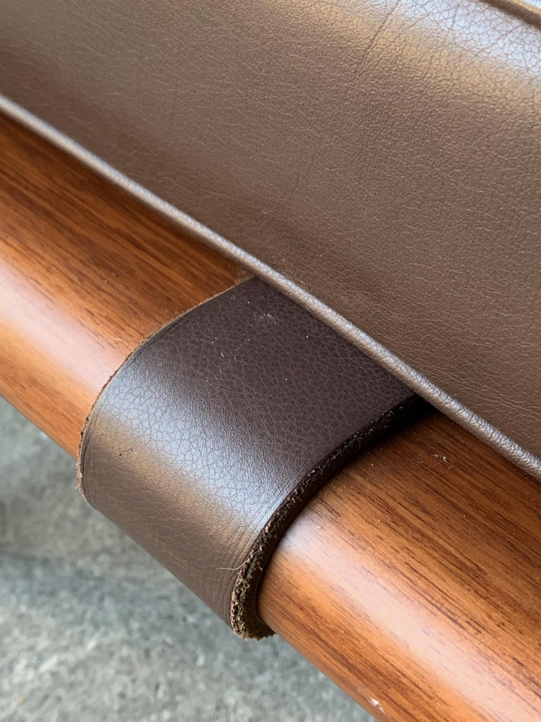 Late 20th Century Knoll Barcelona Couch Daybed Leather Mies Van Der Rohe Signed, circa 1996