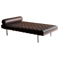 Knoll Barcelona Couch Daybed Leather Mies Van Der Rohe Signed, circa 1996