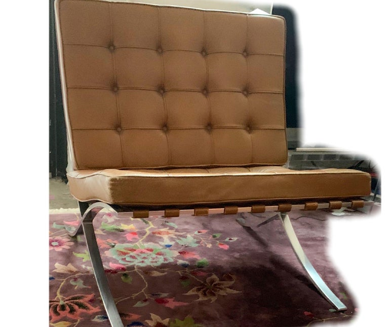 North American Knoll Barcelona Lounge Chair, Chestnut, Stainless Steel, Mies van der Rohe, 1961 For Sale