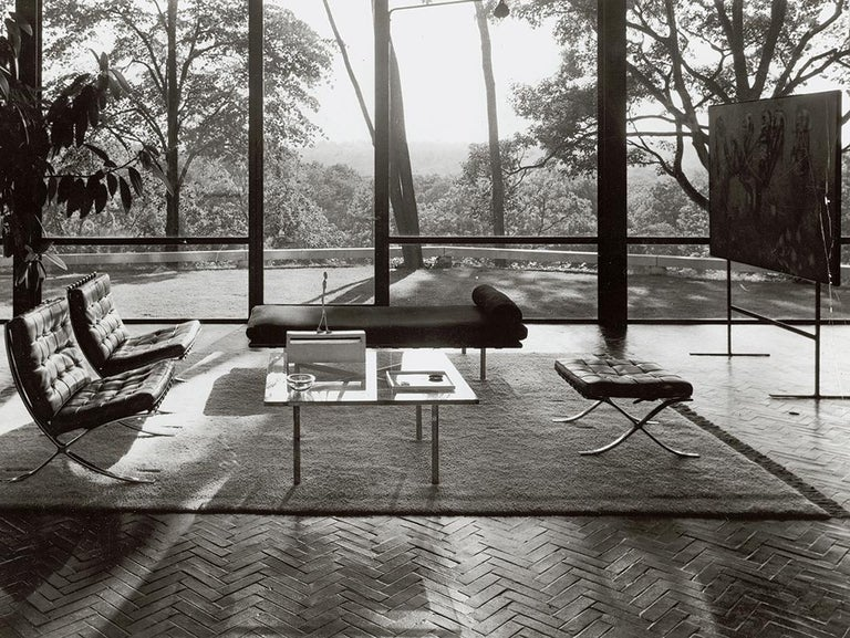 Knoll Barcelona Lounge Chair, Chestnut, Stainless Steel, Mies van der Rohe, 1961 For Sale 1