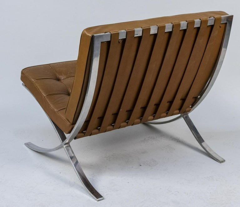 Mid-Century Modern Knoll Barcelona Lounge Chair, Chestnut, Stainless Steel, Mies van der Rohe, 1961 For Sale