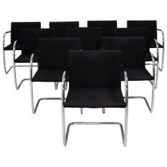 Knoll Brno Black Fabric Tubular Dining Chairs, Set of 10