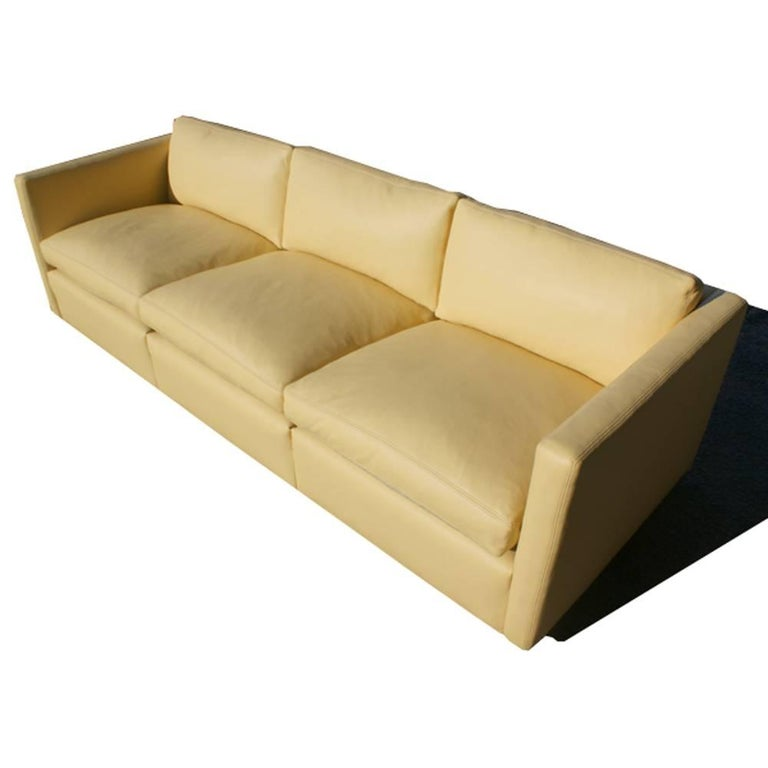 Knoll Charles Pfister 1053-P Sofa Three-Seat Leather In Good Condition For Sale In Pasadena, TX