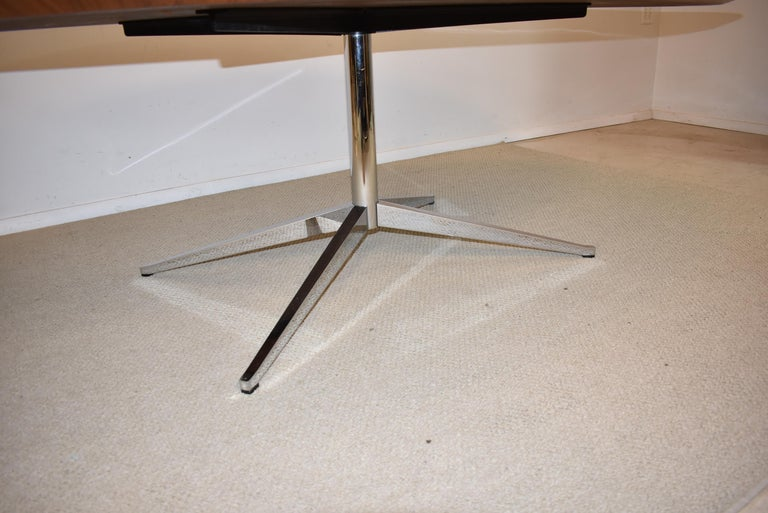 Knoll Chrome and Rosewood Conference or Dining Table In Good Condition For Sale In Toledo, OH