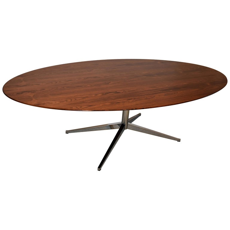 Knoll Chrome and Rosewood Conference or Dining Table For Sale