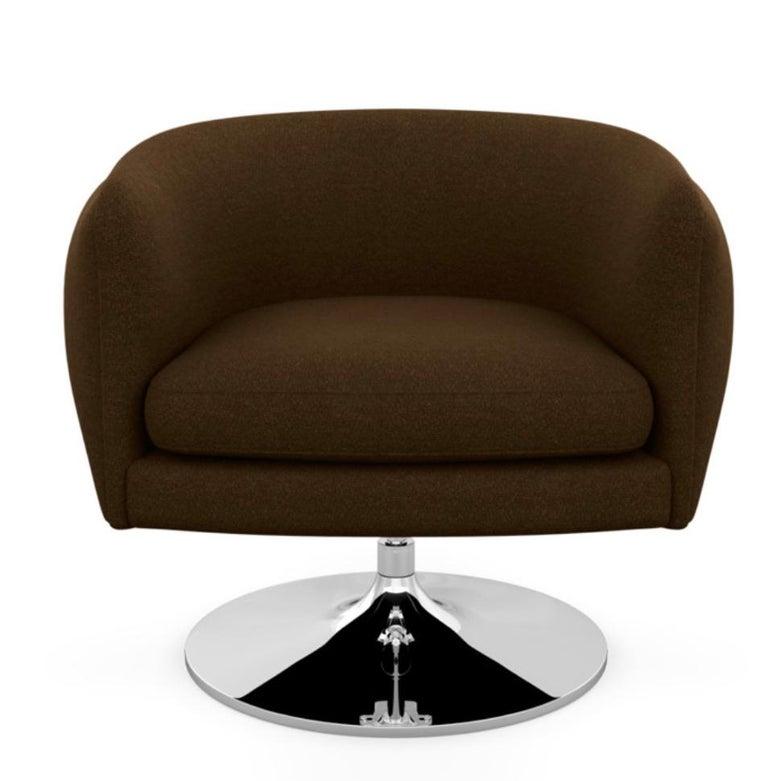 American Knoll D'Urso Modern Swivel Club Lounge Chair in Pumpernickel Wool Bouclé, Steel