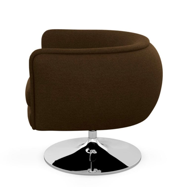 Knoll D'Urso Modern Swivel Club Lounge Chair in Pumpernickel Wool Bouclé, Steel In Excellent Condition In Brooklyn, NY