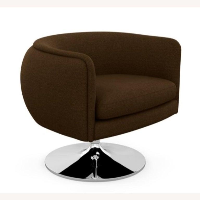 Contemporary Knoll D'Urso Modern Swivel Club Lounge Chair in Pumpernickel Wool Bouclé, Steel