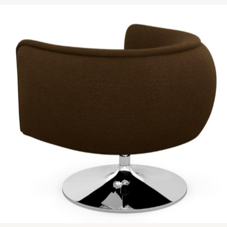 Textile Knoll D'Urso Modern Swivel Club Lounge Chair in Pumpernickel Wool Bouclé, Steel