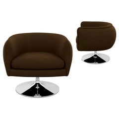 Knoll D'Urso Modern Swivel Club Lounge Chair in Pumpernickel Wool Bouclé, Steel