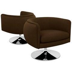 Knoll D'Urso Modern Swivel Club Lounge Chair in Pumpernickel Wool Bouclé, Steel