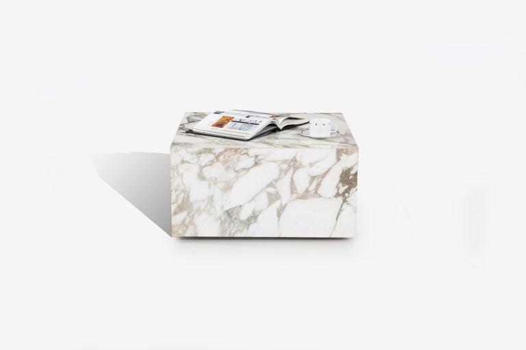 Mid-Century Modern Knoll Gae Aulenti Style Calacatta Cube Coffee Table For Sale