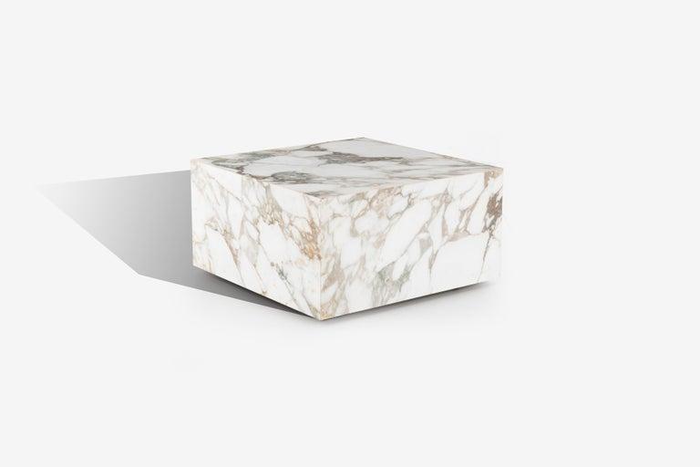Italian Knoll Gae Aulenti Style Calacatta Cube Coffee Table For Sale