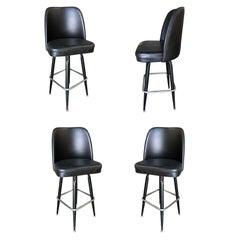 Knoll Inspired Modernist Lounge Swivel Bar Stool, Set of Four