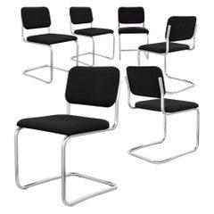 Knoll International 51C Cesca Chair by Marcel Breuer, Black, Armless, 1970s