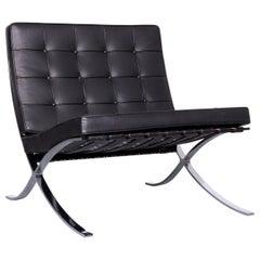 Knoll International Barcelona Chair Designer Leather Armchair Black Genuine