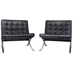 Knoll International Barcelona Chair Designer Leather Armchair Set Black Genuine