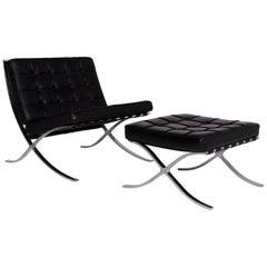Knoll International Barcelona Chair Vintage Designer Leather Armchair Set Black