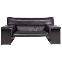 Knoll International Brigadier by Cini Boeri Designer Leather Sofa Black Genuine