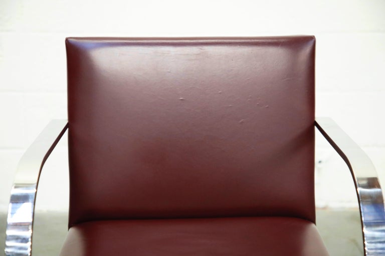 Knoll International Burgundy Leather 'Brno' Chairs by Mies van der Rohe, Signed For Sale 3