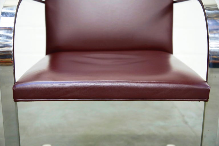 Knoll International Burgundy Leather 'Brno' Chairs by Mies van der Rohe, Signed For Sale 4