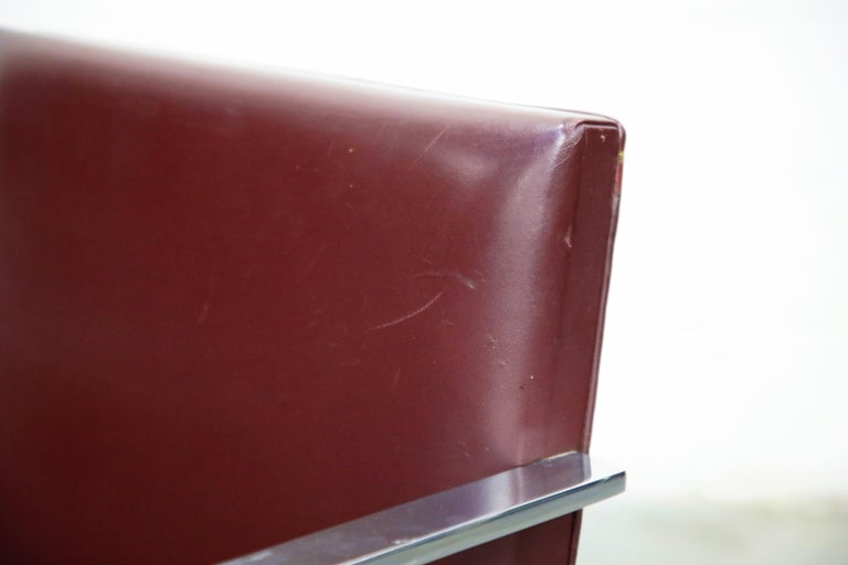 Knoll International Burgundy Leather 'Brno' Chairs by Mies van der Rohe, Signed For Sale 6