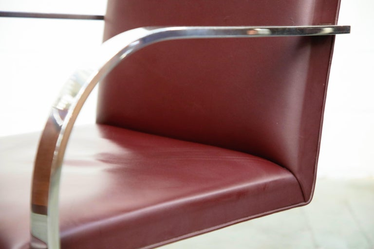 Knoll International Burgundy Leather 'Brno' Chairs by Mies van der Rohe, Signed For Sale 7