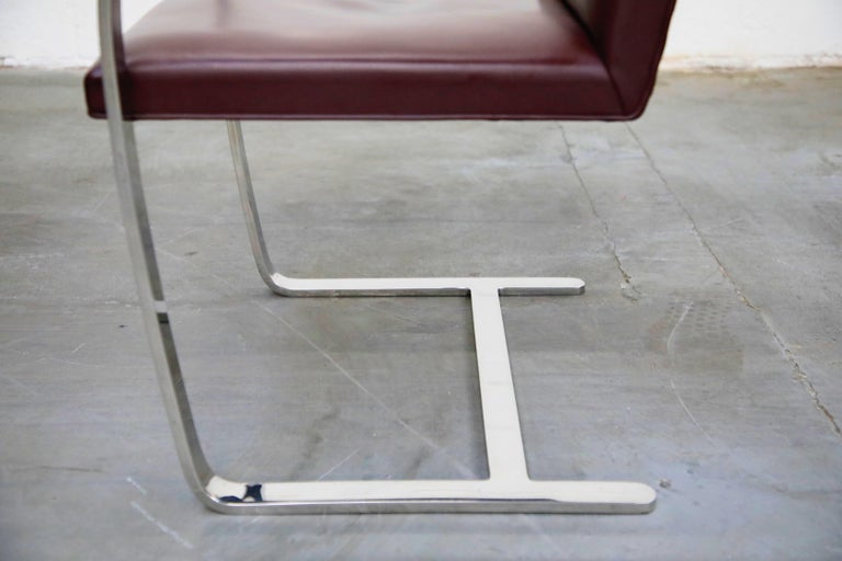 Knoll International Burgundy Leather 'Brno' Chairs by Mies van der Rohe, Signed For Sale 8