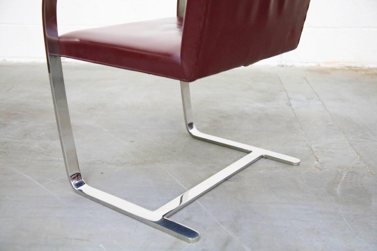 Knoll International Burgundy Leather 'Brno' Chairs by Mies van der Rohe, Signed For Sale 9