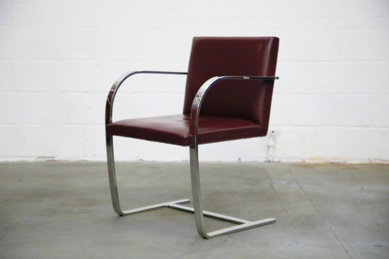 Mid-Century Modern Knoll International Burgundy Leather 'Brno' Chairs by Mies van der Rohe, Signed For Sale