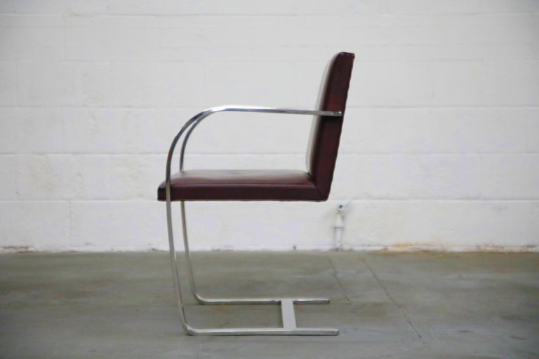 American Knoll International Burgundy Leather 'Brno' Chairs by Mies van der Rohe, Signed For Sale