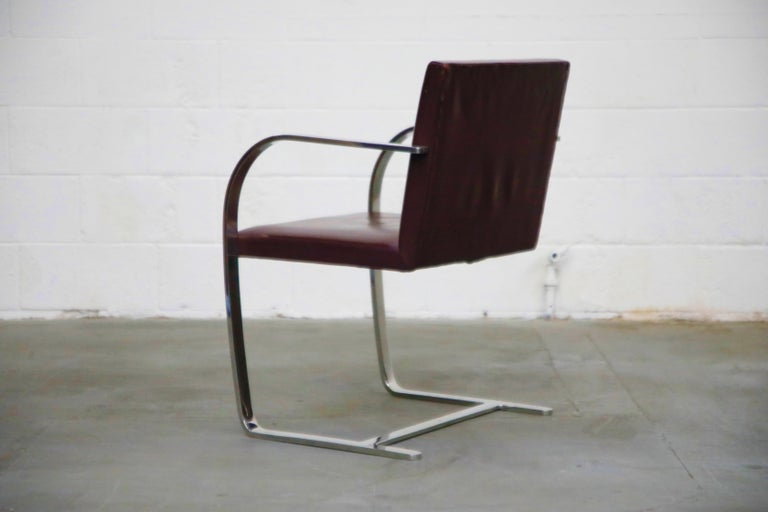 Knoll International Burgundy Leather 'Brno' Chairs by Mies van der Rohe, Signed In Good Condition For Sale In Los Angeles, CA