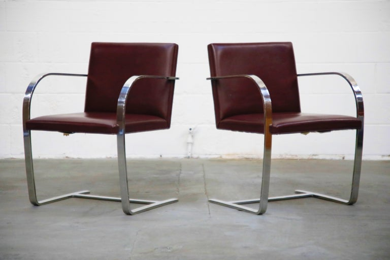 Mid-20th Century Knoll International Burgundy Leather 'Brno' Chairs by Mies van der Rohe, Signed For Sale