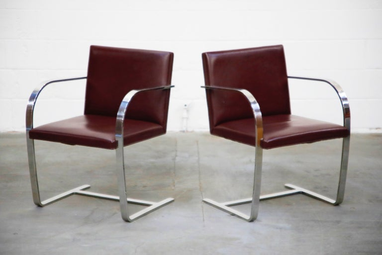 Stainless Steel Knoll International Burgundy Leather 'Brno' Chairs by Mies van der Rohe, Signed For Sale
