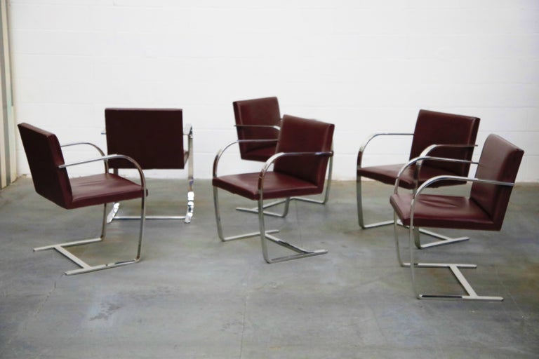 Knoll International Burgundy Leather 'Brno' Chairs by Mies van der Rohe, Signed For Sale 1