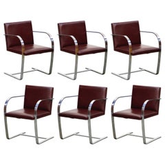 Knoll International Burgundy Leather 'Brno' Chairs by Mies van der Rohe, Signed